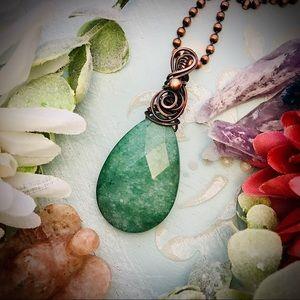 Aventurine copper wire wrapped pendant necklace